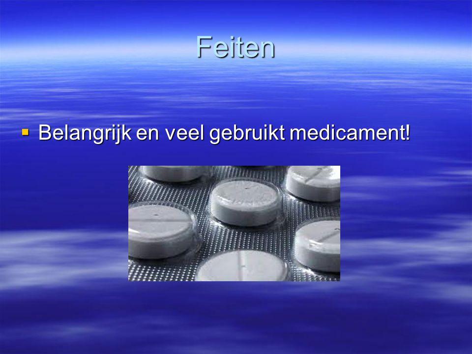 Feiten Belangrijk en veel gebruikt medicament!