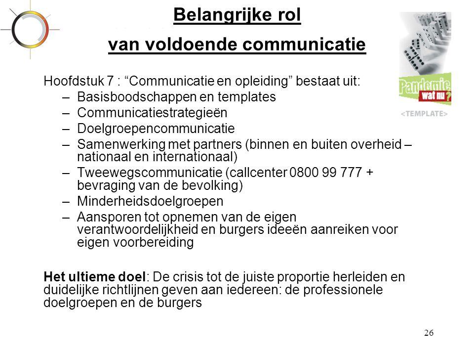 Belangrijke rol van voldoende communicatie