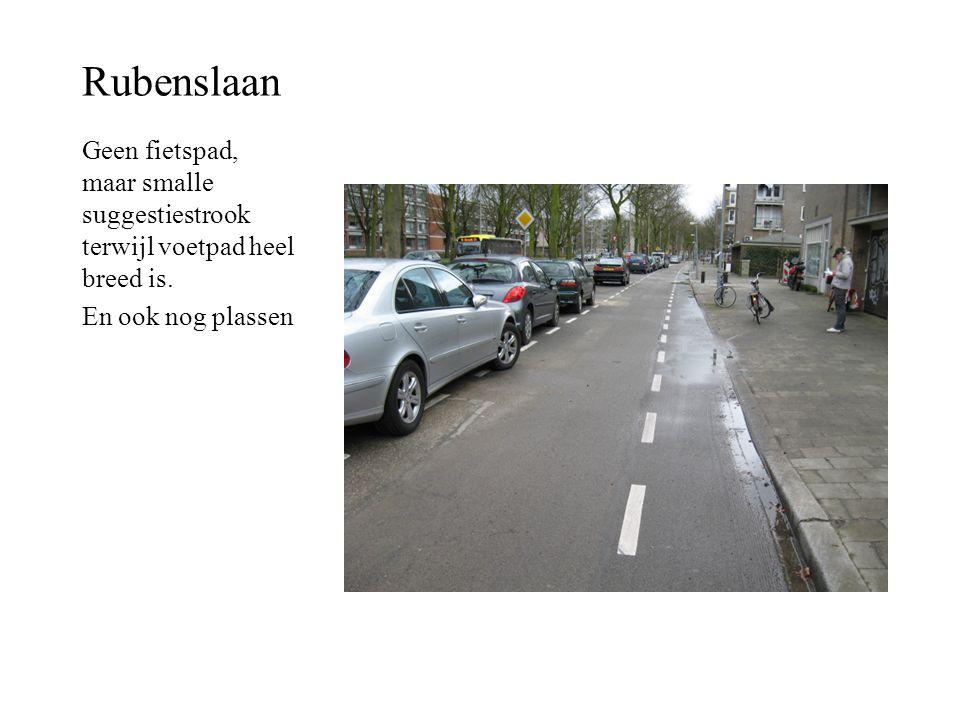Rubenslaan Geen fietspad, maar smalle suggestiestrook terwijl voetpad heel breed is.