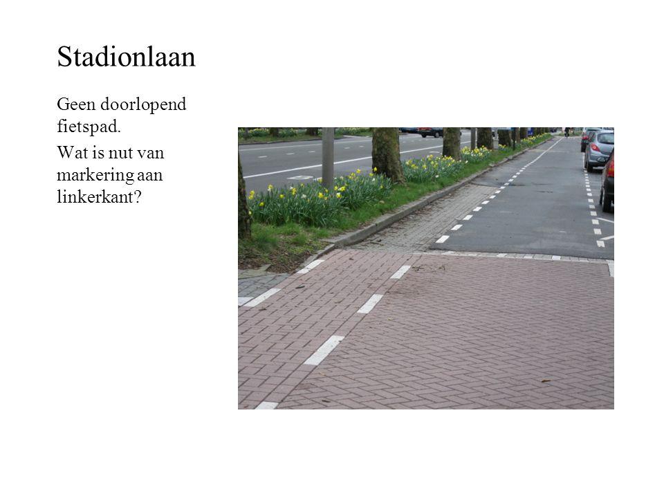 Stadionlaan Geen doorlopend fietspad.