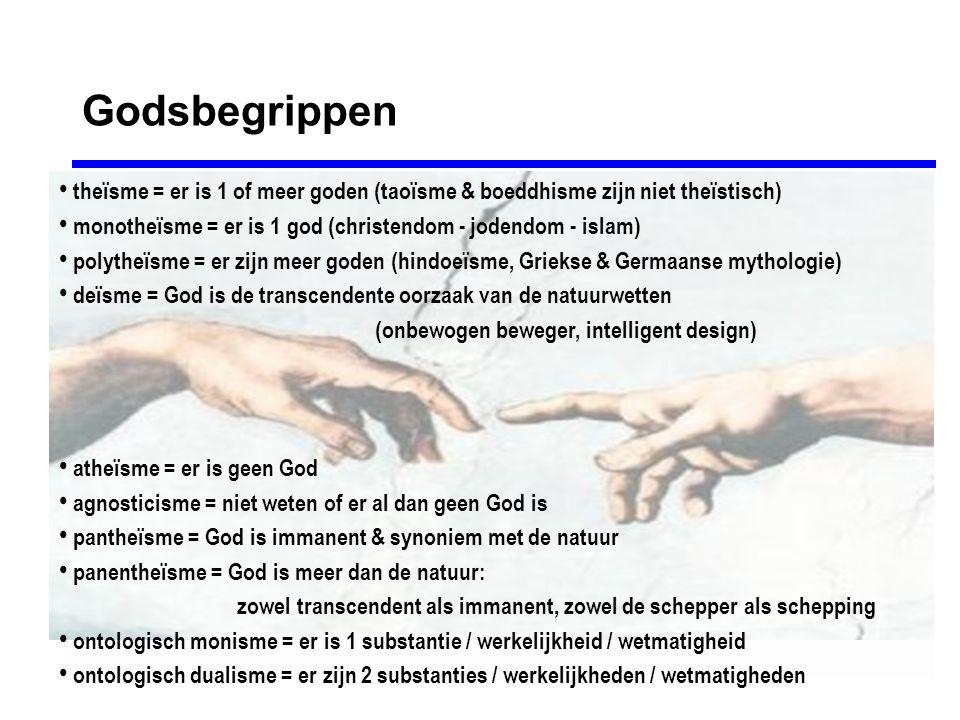 Godsbegrippen theïsme = er is 1 of meer goden (taoïsme & boeddhisme zijn niet theïstisch) monotheïsme = er is 1 god (christendom - jodendom - islam)