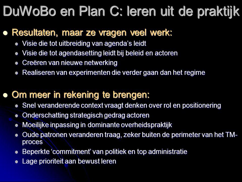 DuWoBo en Plan C: leren uit de praktijk