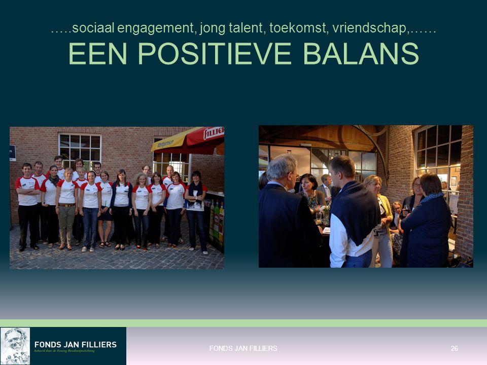 …..sociaal engagement, jong talent, toekomst, vriendschap,…… EEN POSITIEVE BALANS
