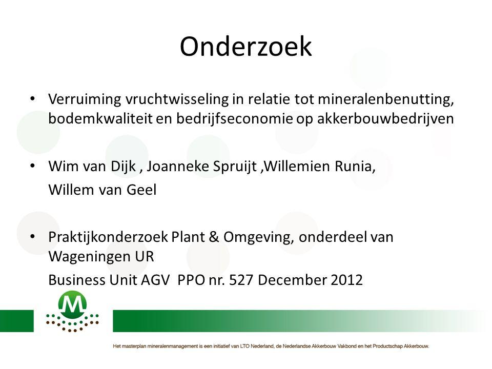 Onderzoek Verruiming vruchtwisseling in relatie tot mineralenbenutting, bodemkwaliteit en bedrijfseconomie op akkerbouwbedrijven.