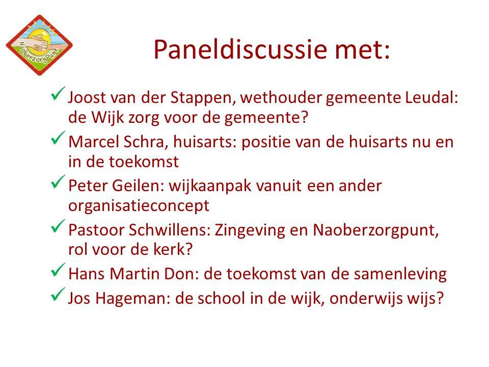Paneldiscussie met: Joost van der Stappen, wethouder gemeente Leudal: de Wijk zorg voor de gemeente