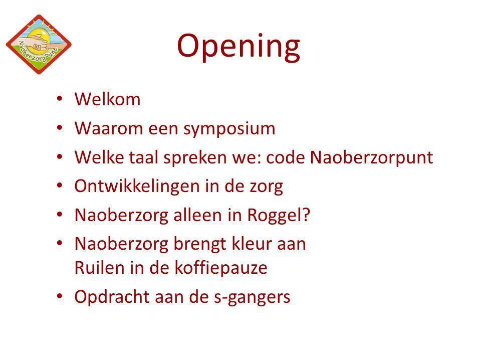 Opening Welkom Waarom een symposium