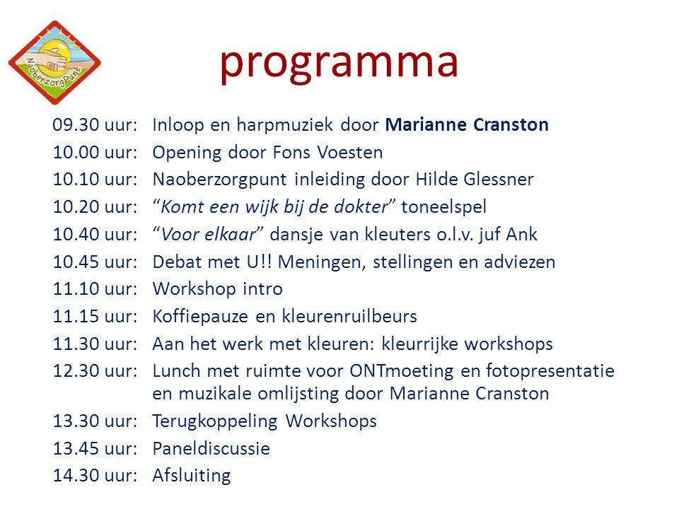 programma 09.30 uur: Inloop en harpmuziek door Marianne Cranston