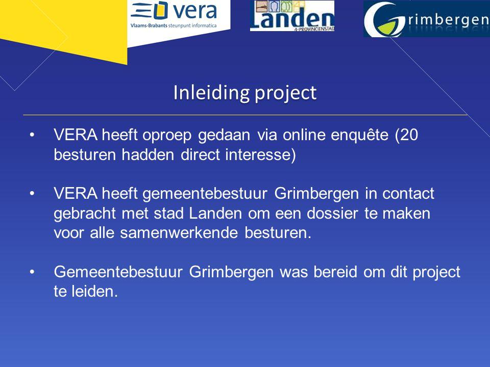 Adviescomité IT Noord Inleiding project. VERA heeft oproep gedaan via online enquête (20 besturen hadden direct interesse)