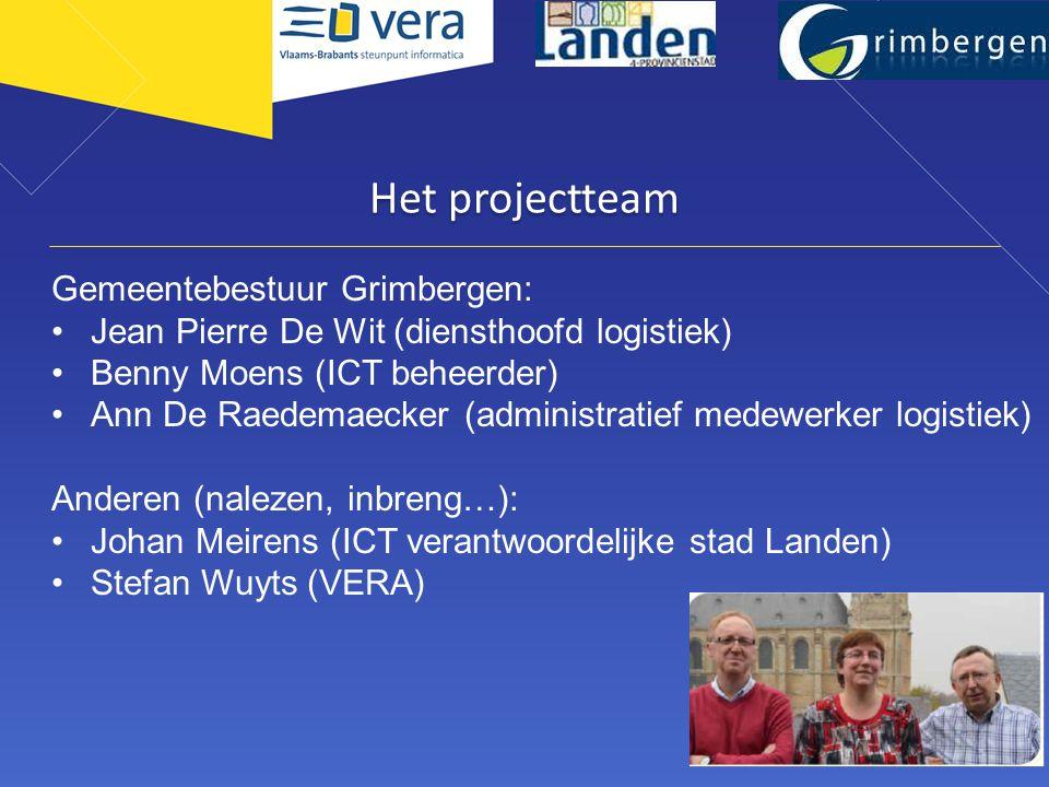 Het projectteam Gemeentebestuur Grimbergen: