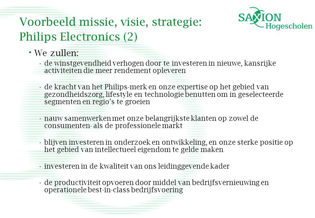 Voorbeeld missie, visie, strategie: Philips Electronics (2)