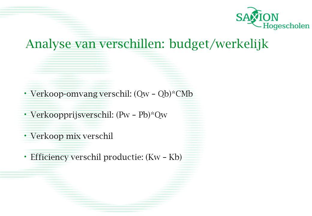 Analyse van verschillen: budget/werkelijk