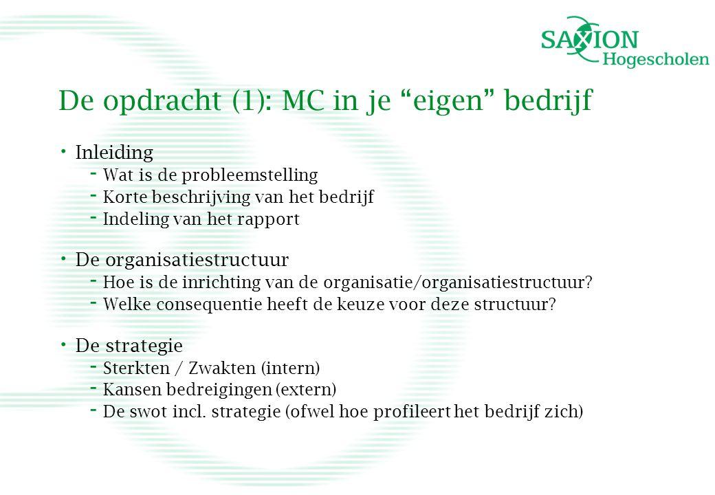 De opdracht (1): MC in je eigen bedrijf