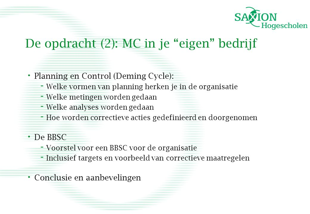 De opdracht (2): MC in je eigen bedrijf