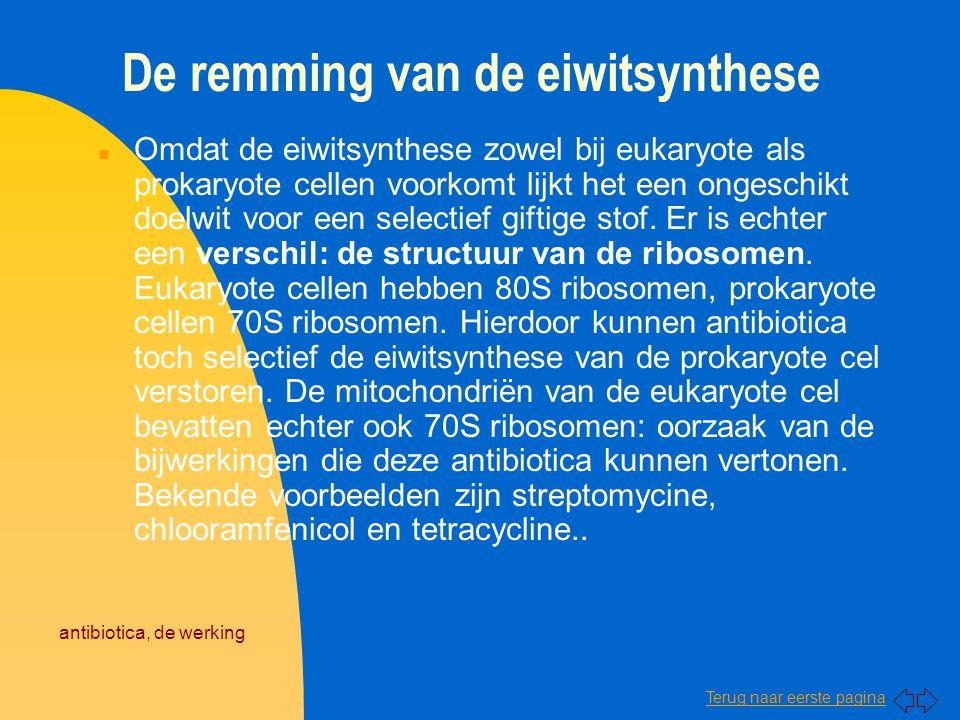 De remming van de eiwitsynthese