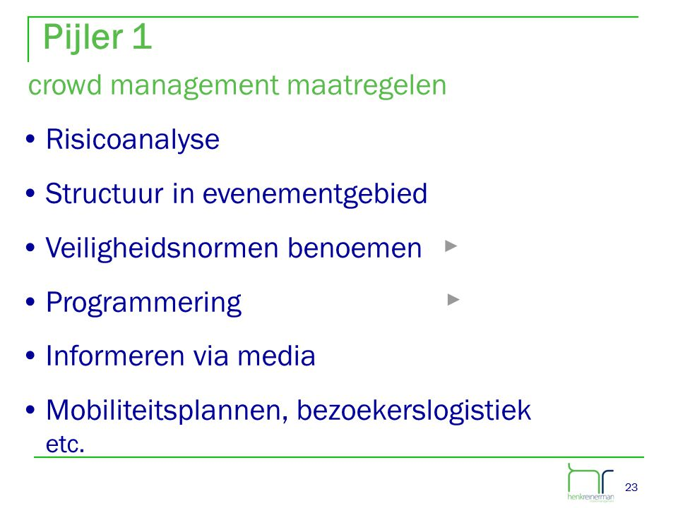 Pijler 1 crowd management maatregelen Risicoanalyse
