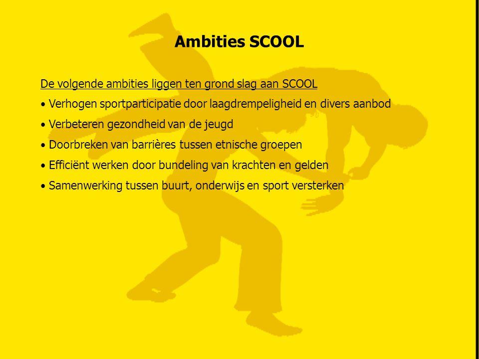 Ambities SCOOL De volgende ambities liggen ten grond slag aan SCOOL