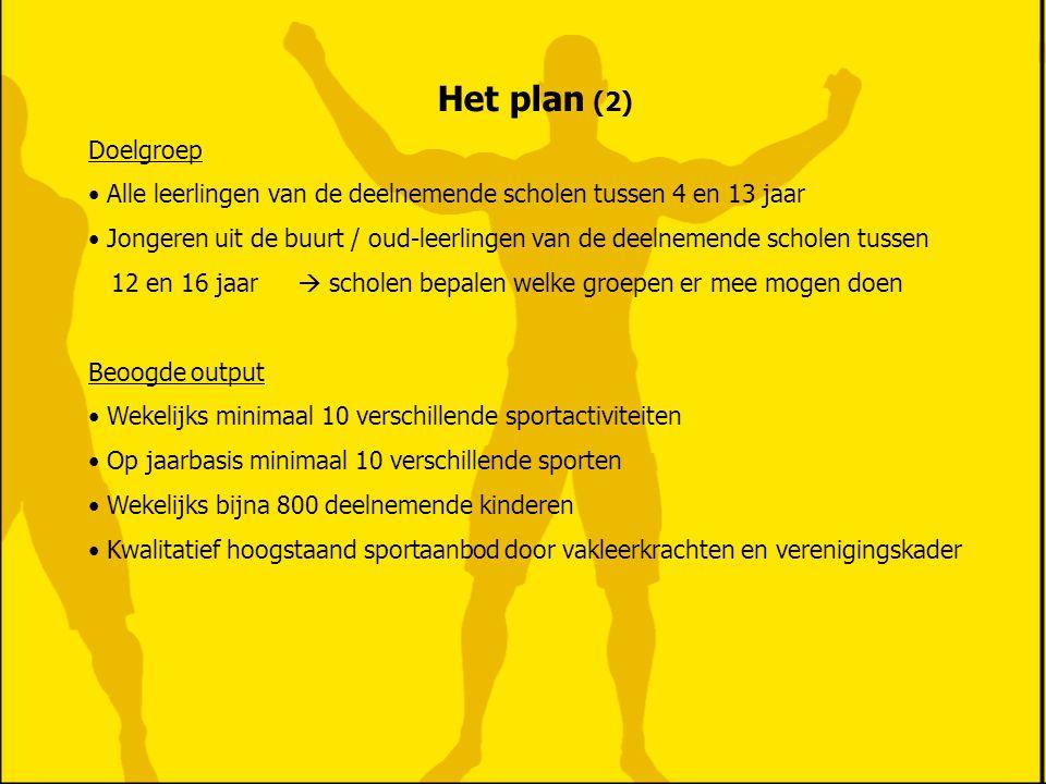 Het plan (2) Doelgroep. Alle leerlingen van de deelnemende scholen tussen 4 en 13 jaar.