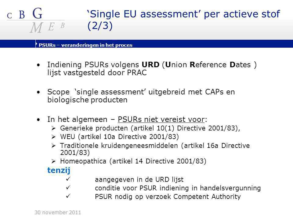 'Single EU assessment' per actieve stof (2/3)