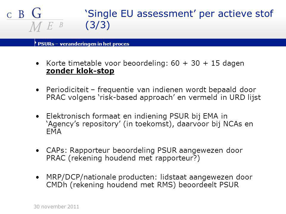 'Single EU assessment' per actieve stof (3/3)