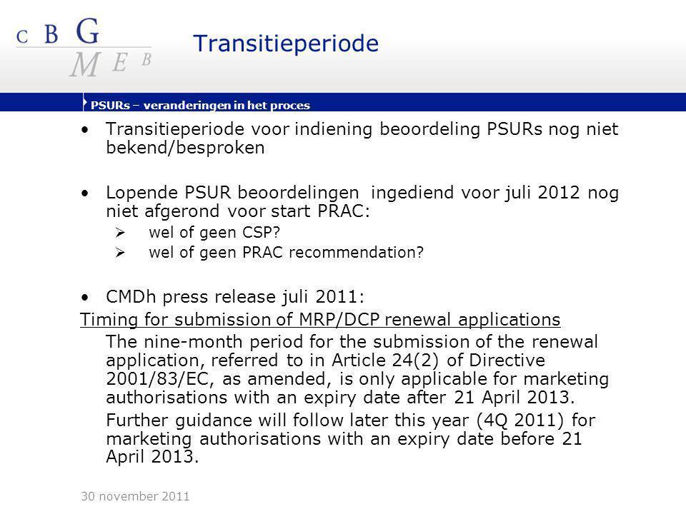 Transitieperiode Transitieperiode voor indiening beoordeling PSURs nog niet bekend/besproken.