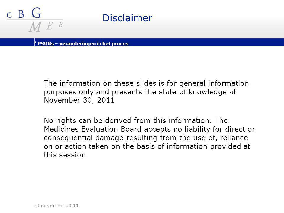 Disclaimer The information on these slides is for general information purposes only and presents the state of knowledge at November 30, 2011.