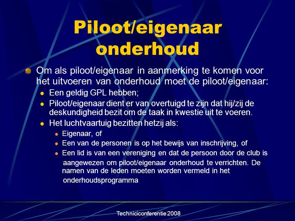 Piloot/eigenaar onderhoud