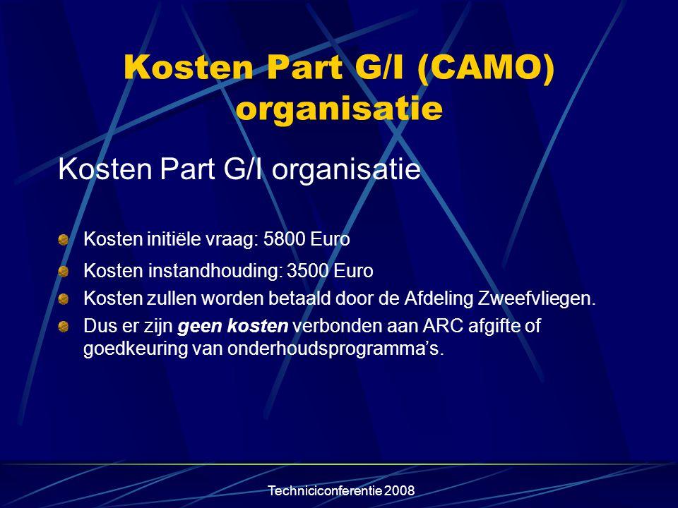 Kosten Part G/I (CAMO) organisatie