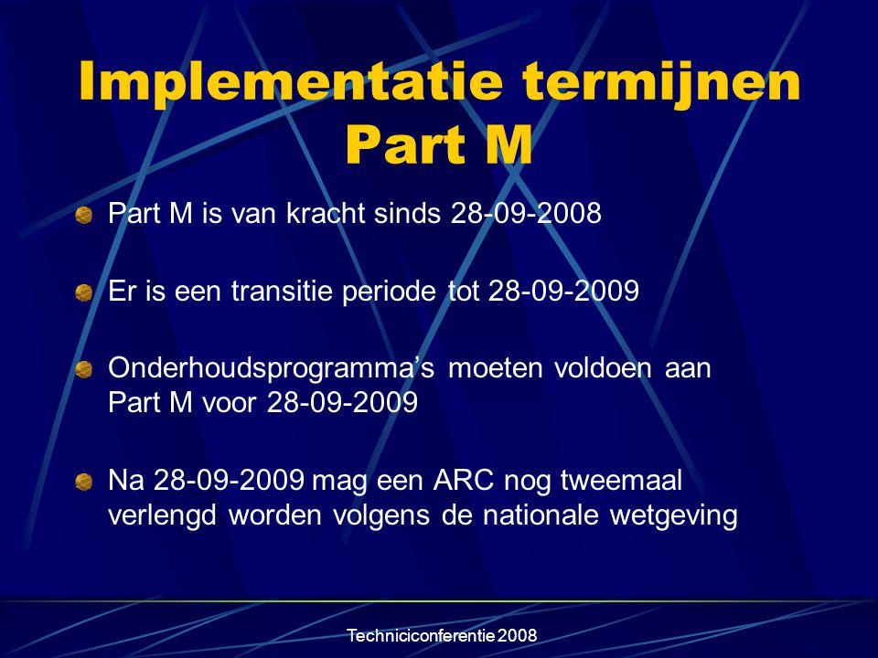 Implementatie termijnen Part M