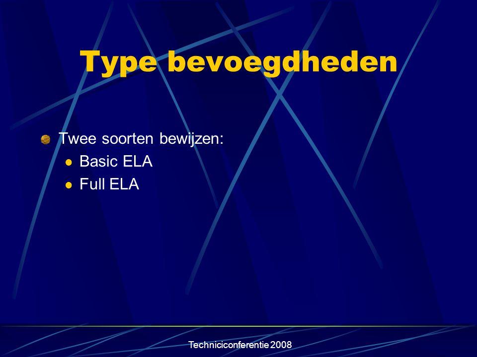 Type bevoegdheden Twee soorten bewijzen: Basic ELA Full ELA
