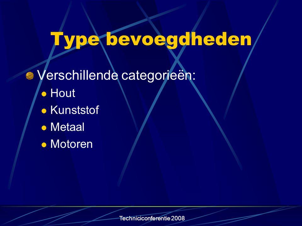 Type bevoegdheden Verschillende categorieën: Hout Kunststof Metaal