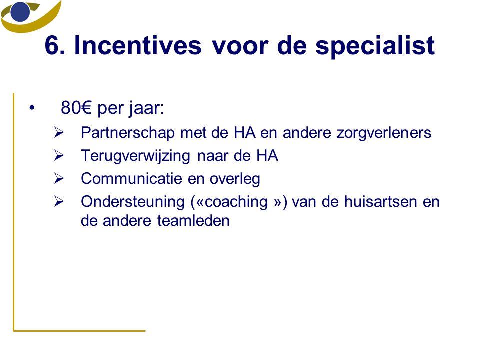 6. Incentives voor de specialist