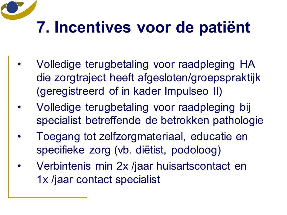 7. Incentives voor de patiënt
