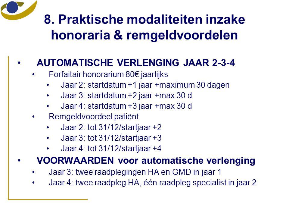 8. Praktische modaliteiten inzake honoraria & remgeldvoordelen