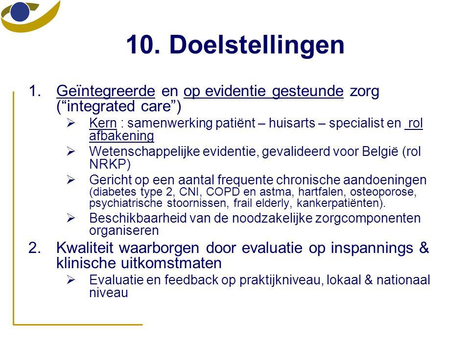 10. Doelstellingen Geïntegreerde en op evidentie gesteunde zorg ( integrated care )