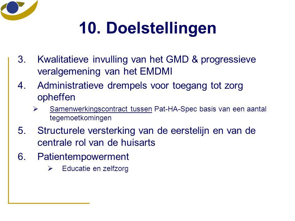 10. Doelstellingen Kwalitatieve invulling van het GMD & progressieve veralgemening van het EMDMI.