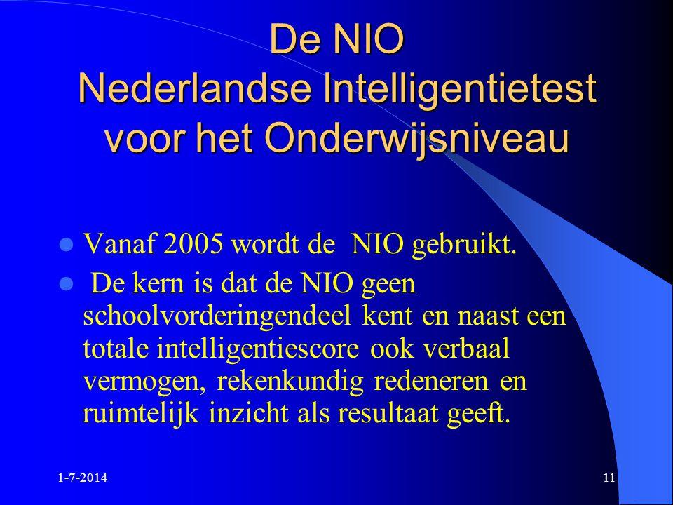 De NIO Nederlandse Intelligentietest voor het Onderwijsniveau
