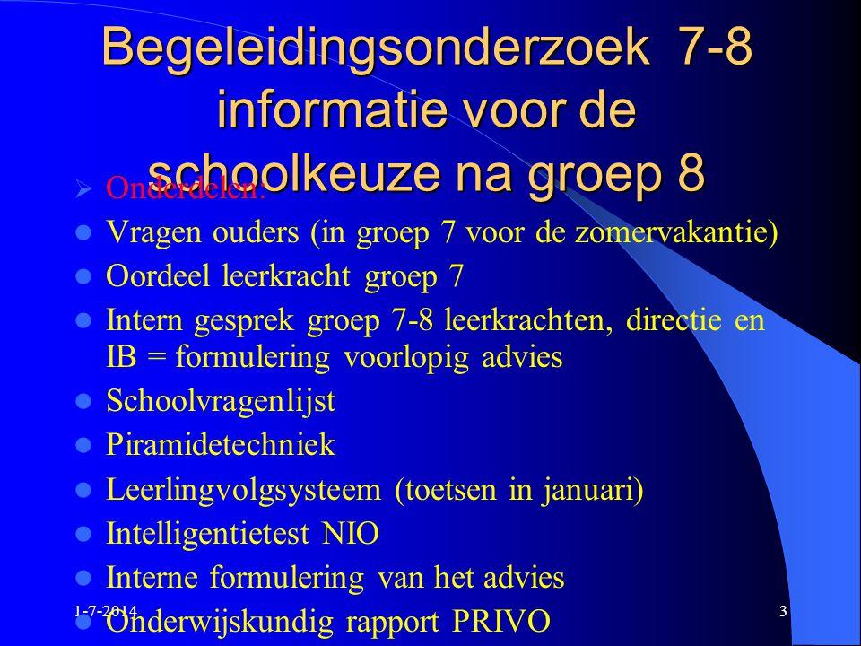 Begeleidingsonderzoek 7-8 informatie voor de schoolkeuze na groep 8