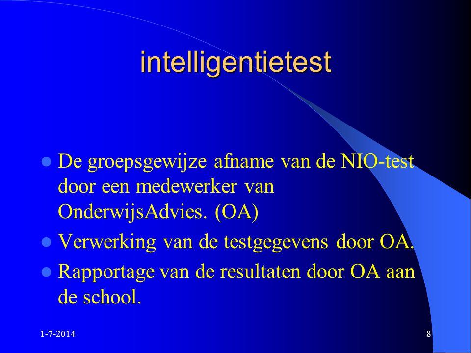 intelligentietest De groepsgewijze afname van de NIO-test door een medewerker van OnderwijsAdvies. (OA)