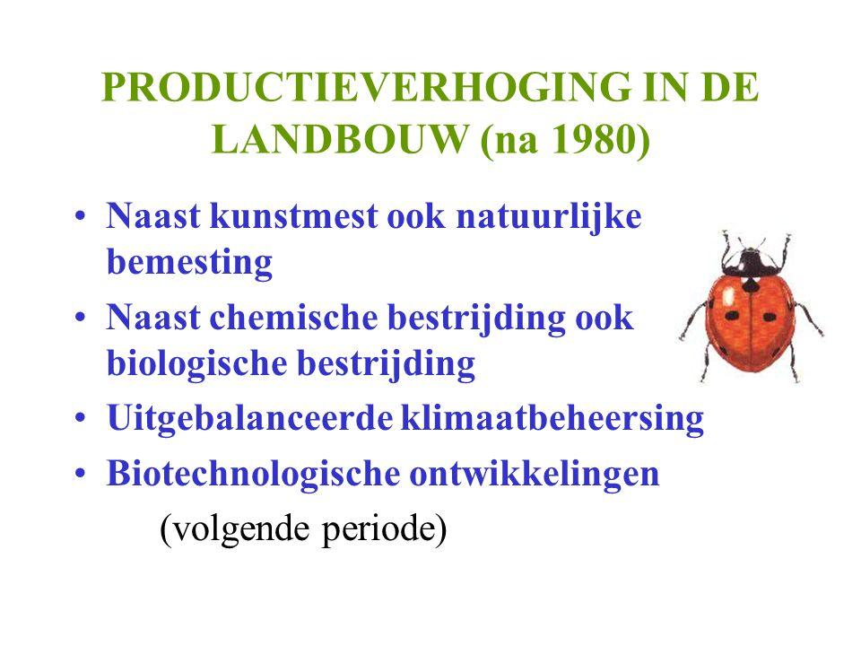 PRODUCTIEVERHOGING IN DE LANDBOUW (na 1980)