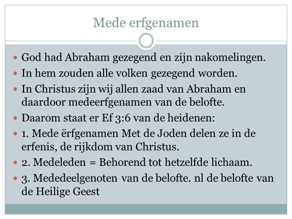 Mede erfgenamen God had Abraham gezegend en zijn nakomelingen.