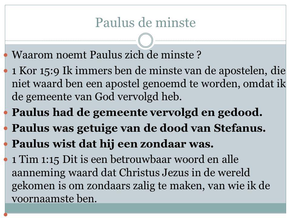 Paulus de minste Waarom noemt Paulus zich de minste