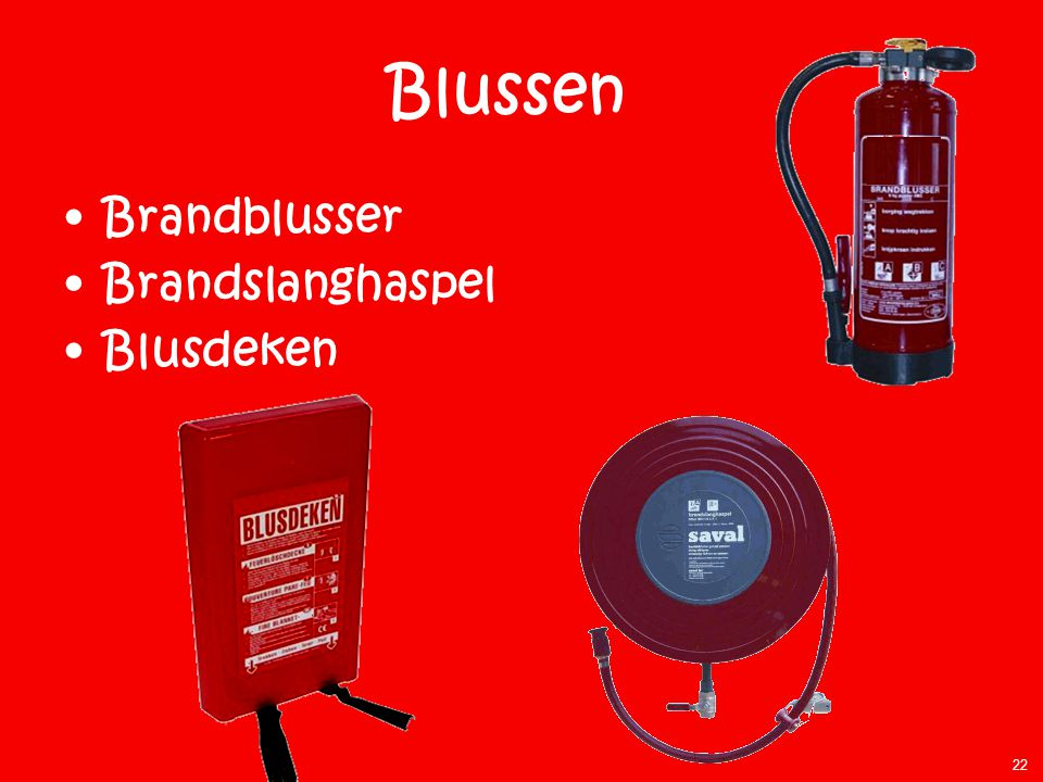 Blussen Brandblusser Brandslanghaspel Blusdeken Aanwijzingen:
