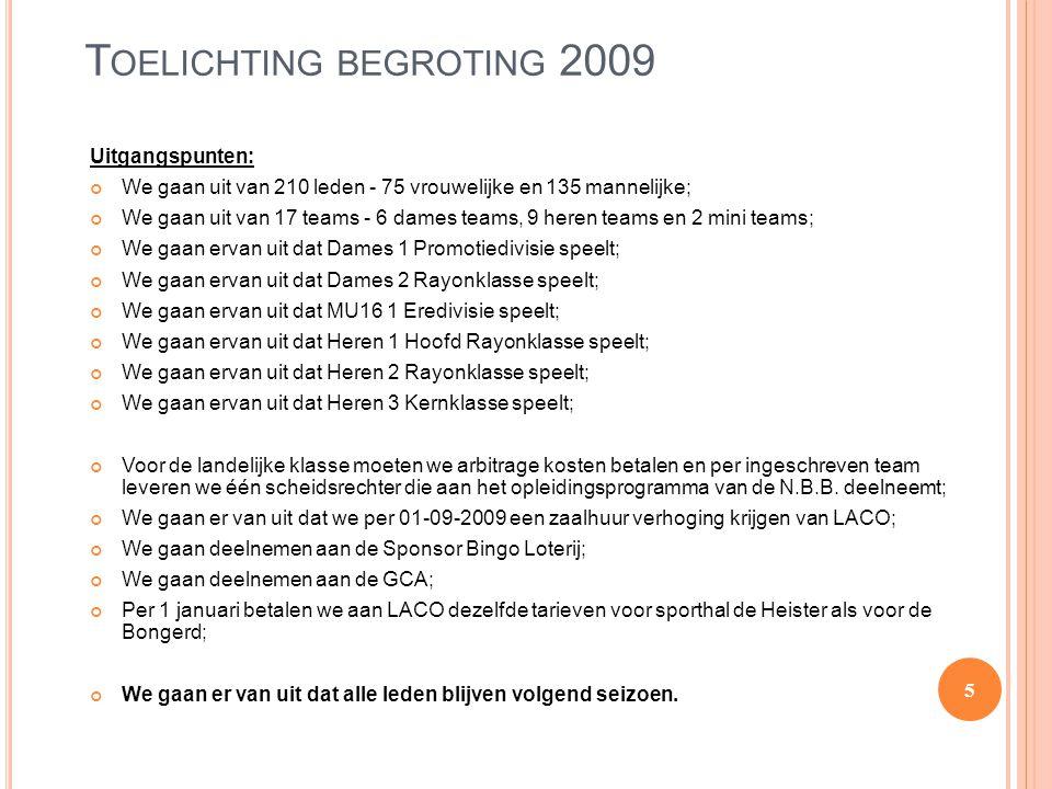 Toelichting begroting 2009
