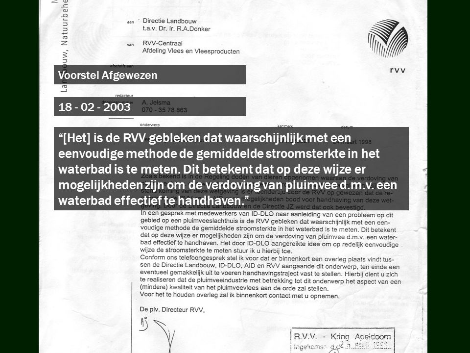 Voorstel Afgewezen 18 - 02 - 2003.