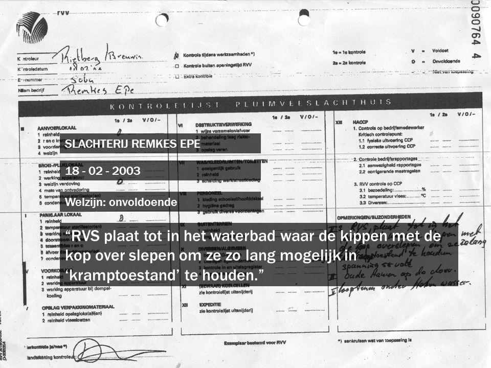 SLACHTERIJ REMKES EPE 18 - 02 - 2003. Welzijn: onvoldoende.