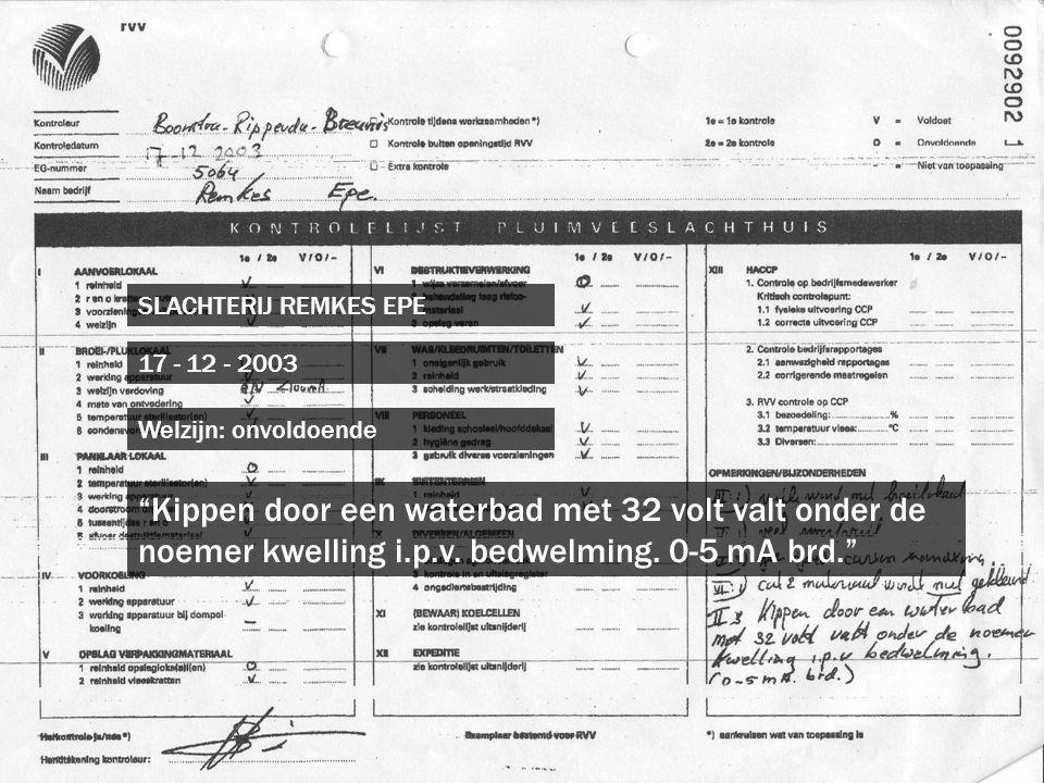 SLACHTERIJ REMKES EPE 17 - 12 - 2003. Welzijn: onvoldoende.
