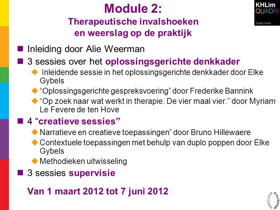 Module 2: Therapeutische invalshoeken en weerslag op de praktijk