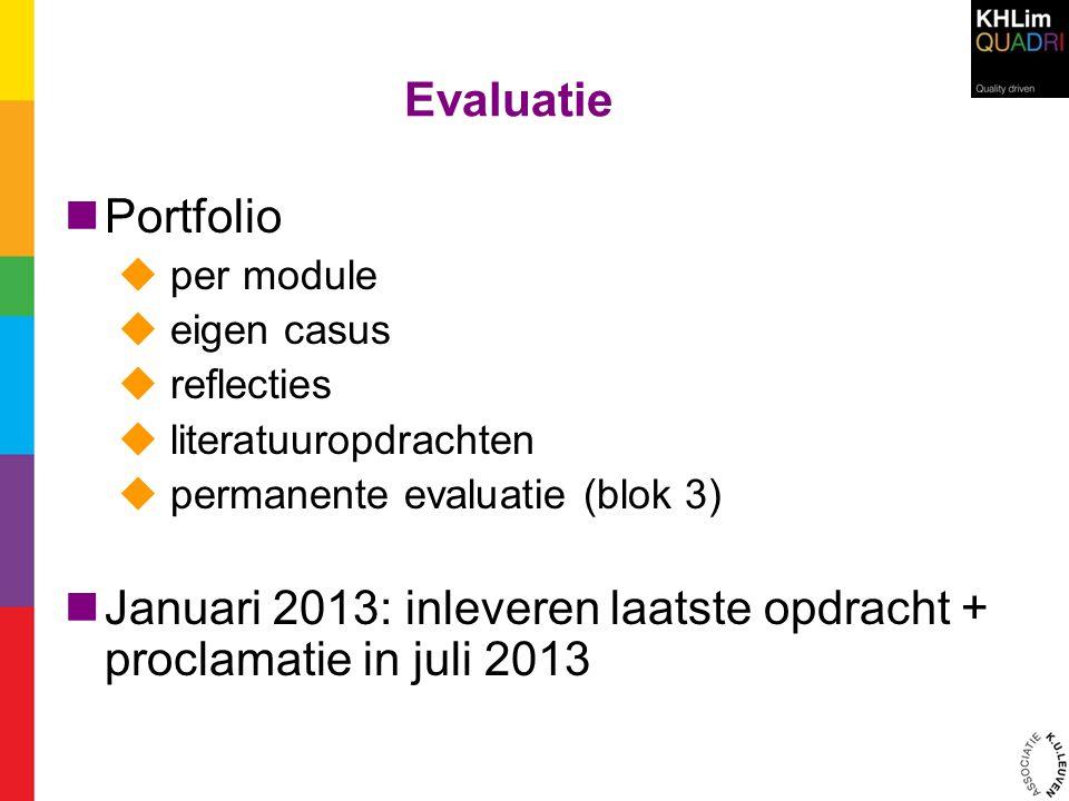 Januari 2013: inleveren laatste opdracht + proclamatie in juli 2013