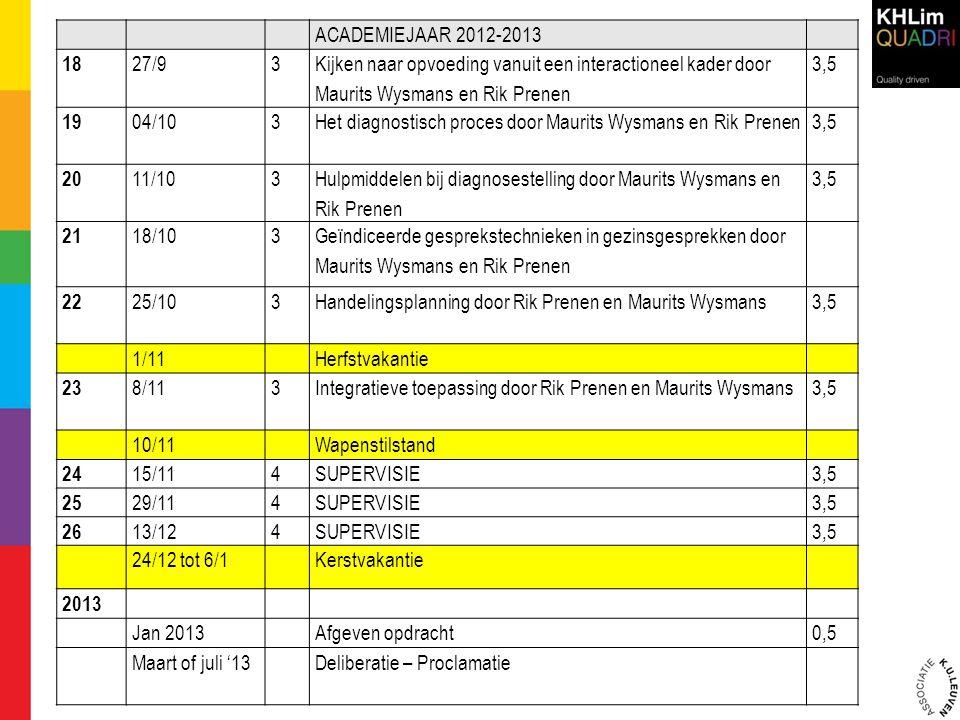 ACADEMIEJAAR 2012-2013 18. 27/9. 3. Kijken naar opvoeding vanuit een interactioneel kader door Maurits Wysmans en Rik Prenen.
