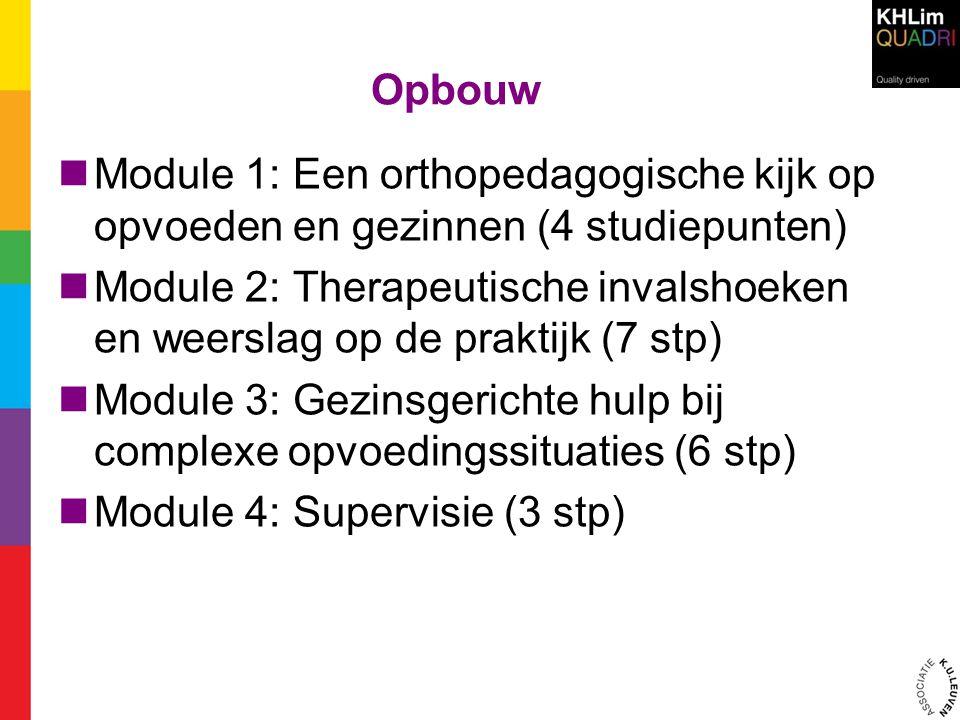 Opbouw Module 1: Een orthopedagogische kijk op opvoeden en gezinnen (4 studiepunten)